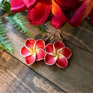 Polymer plumeria flower earrings,Plumeria earrings